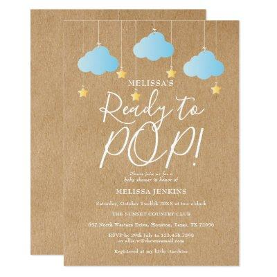 Rustic Ready to Pop Twinkle Twinkle Baby Shower Invitation