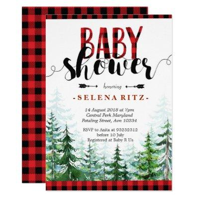 Rustic Red Plaid Boy Baby Shower Invitation