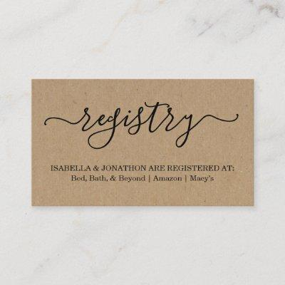 Rustic Registry Insert / Enclosure for Invitations