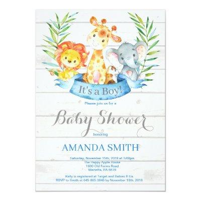 Rustic Safari Jungle Animals Boy Baby Shower Invitation