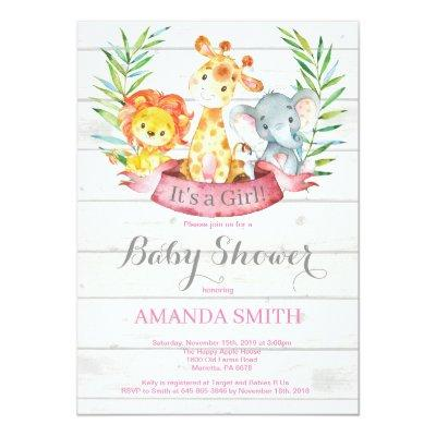 Rustic Safari Jungle Animals Girl Baby Shower Invitation