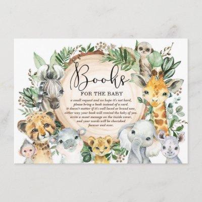 Rustic Safari Wild Animals Books for Baby Library Enclosure Card