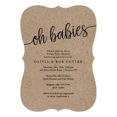 Rustic Script Kraft Oh Babies Twins Baby Shower Invitation