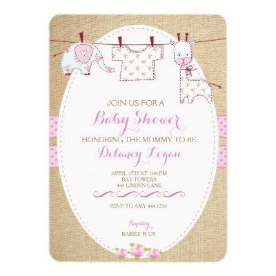 Rustic Shabby Chic Baby Shower Girl Invitations