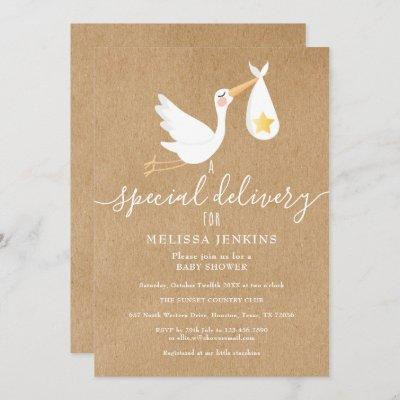 Rustic Special Delivery Stork Baby Shower Sprinkle Invitation