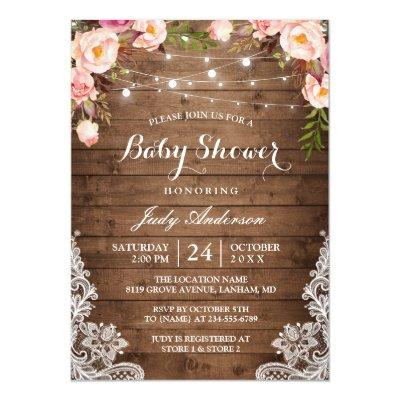 Rustic String Lights Lace Floral Baby Shower Invitations