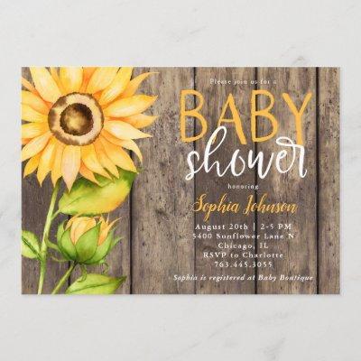 Rustic Sunflower Baby Shower Invitation