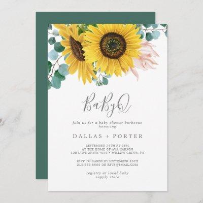 Rustic Sunflower BabyQ Baby Shower Barbecue Invitation