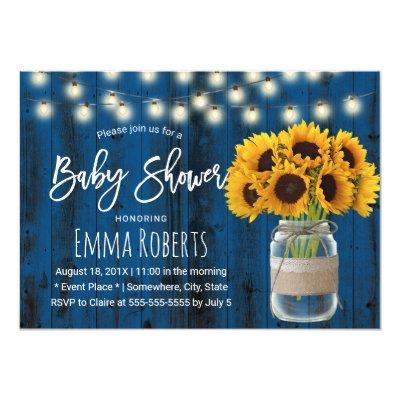 Rustic Sunflower Mason Jar Blue Wood Baby Shower Invitation