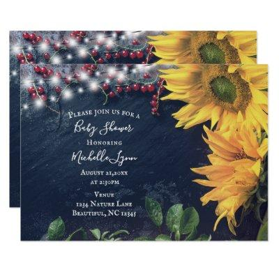 Rustic Sunflower, Slate and Lights Baby Shower Invitation