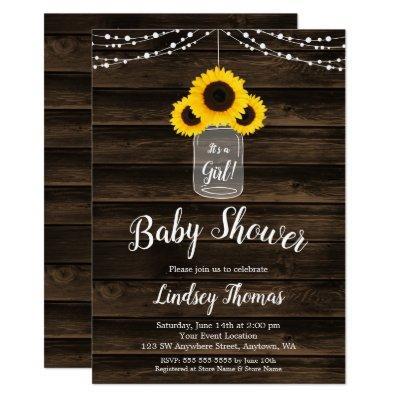Rustic Sunflower String Lights Girl Baby Shower Invitation