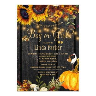 Rustic sunflowers fall baby shower gender reveal invitation