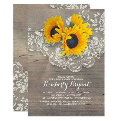 Rustic Sunflowers Wood Lace Baby Shower Invitations