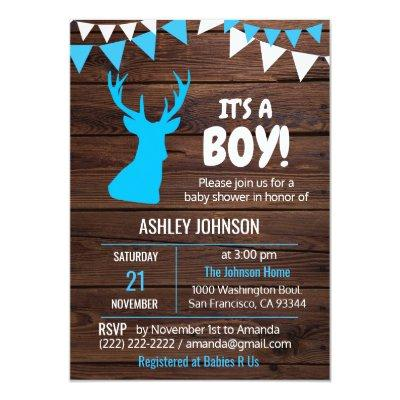 Rustic Theme Buck Blue BOY Baby Shower Invitations