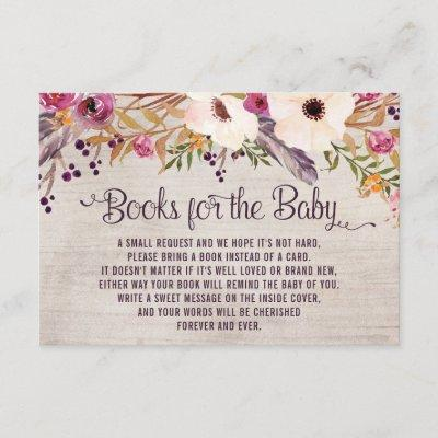 Rustic Tribal Floral Books for Baby Insert Card