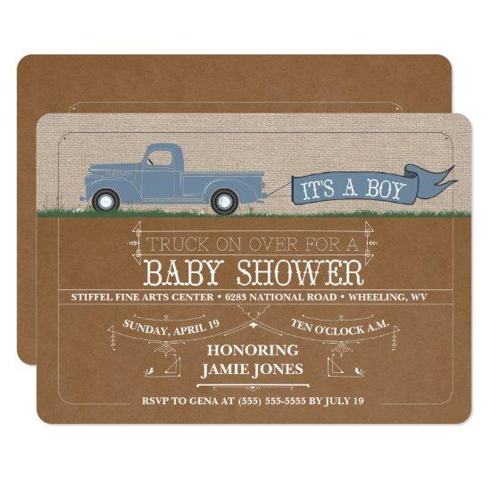Rustic Truck It's a Boy Baby Shower Invitations