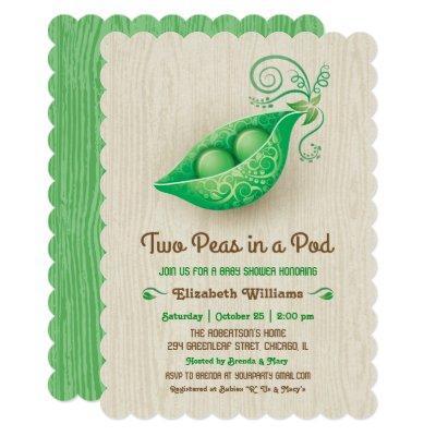 Rustic Two Peas in a Pod Twins Invitations