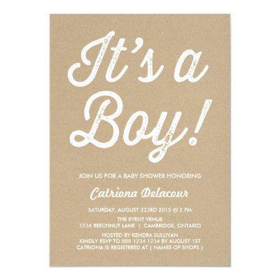 RUSTIC VINTAGE | IT'S A BOY Invitations