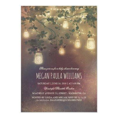 Rustic Vintage Mason Jar Lights Baby Shower Invitations