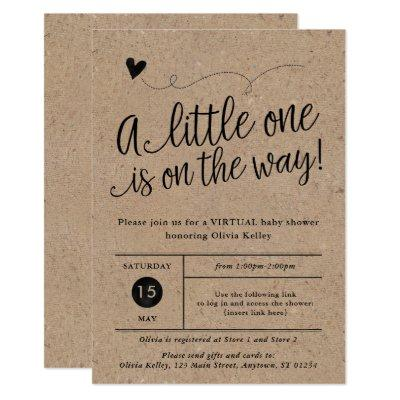 Rustic Virtual Baby Shower, Kraft, Gender Neutral Invitation