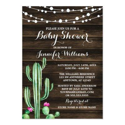 Rustic Watercolor Cactus Barn Wood Baby Shower Invitations