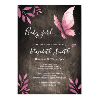 Rustic watercolor pink butterfly girl babyshower invitation
