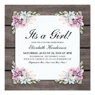 Rustic Watercolor Succulent Floral Baby Shower Invitation