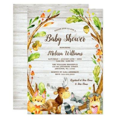 Rustic Watercolor Woodland Animals Baby Shower Invitation