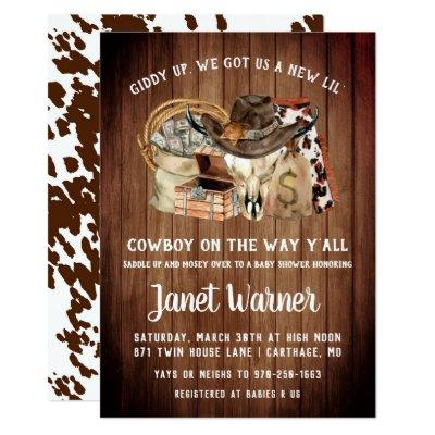 Rustic Western Rodeo Cowboy Baby Shower Invitation