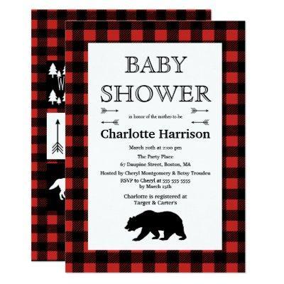 Rustic Wilderness & Animals Plaid Baby Shower Invitations