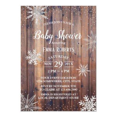 Rustic Winter Snowflakes Barn Wood Baby Shower Invitations