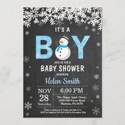 Rustic Winter Snowman Boy Baby Shower Invitation