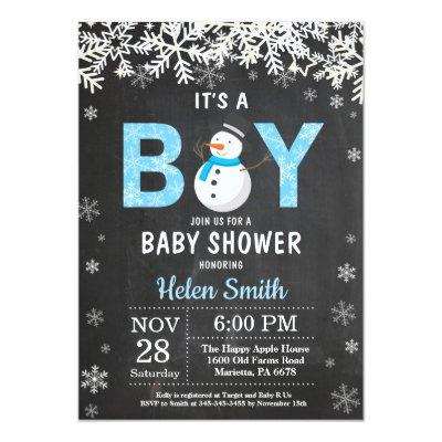 Rustic Winter Snowman Boy Baby Shower Invitation