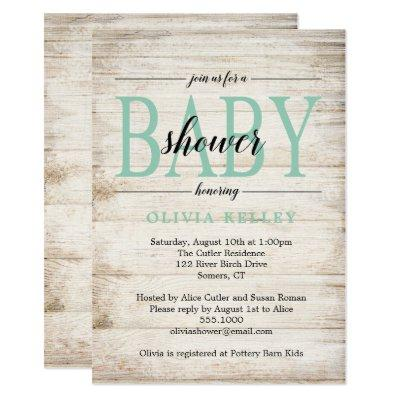 Rustic Wood Baby Shower Invitations, Mint Green Invitations
