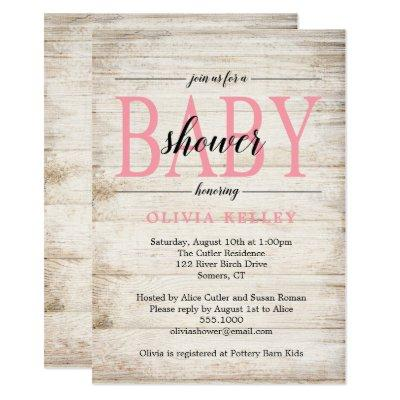 Rustic Wood Baby Shower Invitation, Pink Invitation