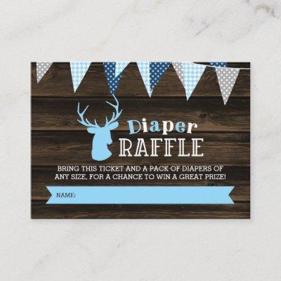 Rustic Wood Blue Deer Boy Diaper Raffle Ticket Enclosure Invitations