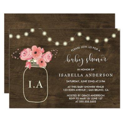 Rustic Wood Floral Mason Jar & Light Baby Shower Invitations