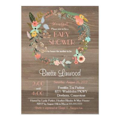 Rustic Wood, Floral Wreath Shabby Chic