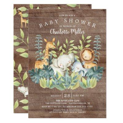 Rustic Wood Jungle Animals Baby Shower Invitation