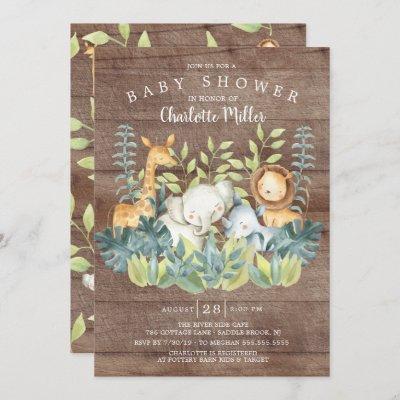 Rustic Wood Jungle Animals Baby Shower Invitation