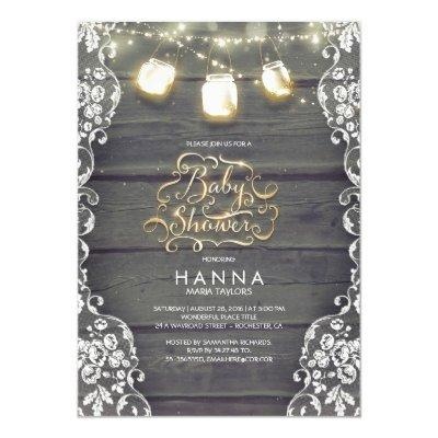 Rustic Wood Lace Mason Jar Lights Invitations