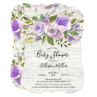 Rustic Wood Lavender Floral Baby Shower Invitation