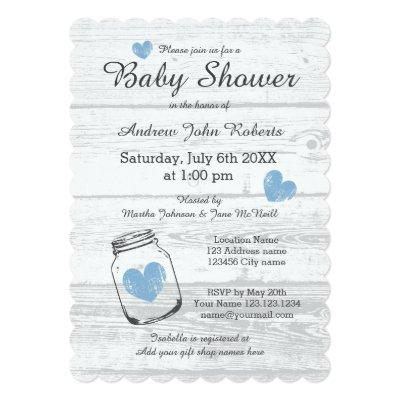 Rustic wood mason jar boy invitations
