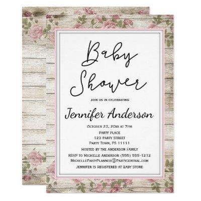Rustic Wood Pink Floral Baby Shower Invitation