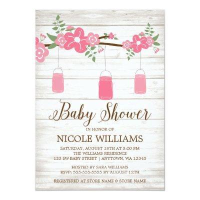 Rustic Wood Pink Mason Jar Branch Girl Baby Shower Invitation