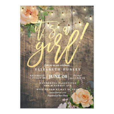 Rustic Wood Roses Floral String Light Baby Shower Invitations