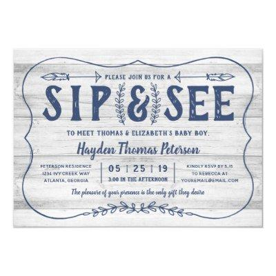 Rustic Wood Sip and See Baby Shower Invitations