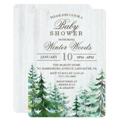 Rustic Wood Tree Baby Shower Invitations