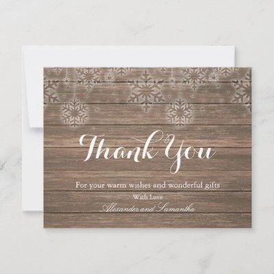 Rustic Wood Winter Snowflake Thank You Card