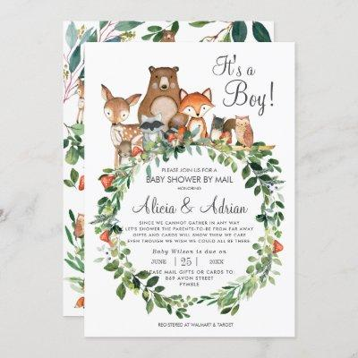 Rustic Woodland Animals Baby Shower by Mail Boy Invitation